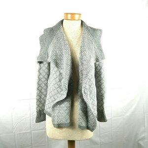 Ann Taylor LOFT  M grey/Tan Wool Open Sweate
